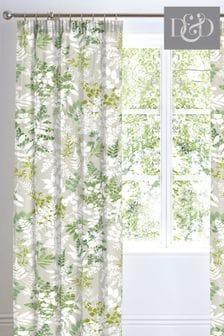 D&D Green Delamere Botanical Print Pencil Pleat Curtains