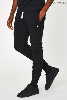 Jack Wills Black JW Haydor Embroidered Joggers