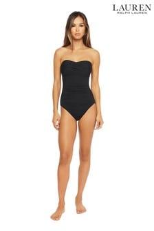 Lauren Ralph Lauren® Beach Club Solids扭結平口鋼圈連身泳裝