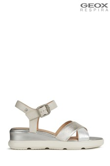 Geox Women's Pisa Silver Sandals