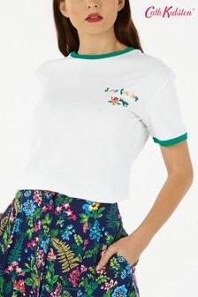 Cath Kidston® T-Shirt mit Froschstickerei, Weiss