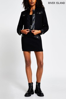 River Island Black Bouclé Trucker Jacket