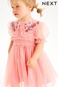 Embellished Mesh Collar Dress (3mths-7yrs)