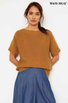 Светло-коричневый джемпер с коротким рукавом и отделкой тесьмой White Stuff Rye