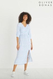 فستان متوسط الطول أزرق لونين طباعة زهور منOliver Bonas