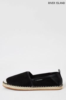 River Island Black Embroidered Espadrille Pumps