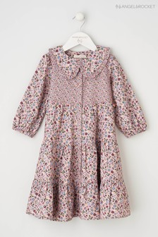 Angel & Rocket Pink Collared Tiered Shirt Dress