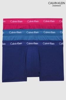 Lot de 3 boxers Calvin Klein taille basse en coton stretch bleu