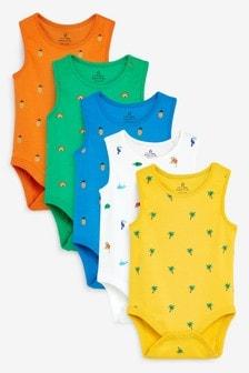 Pack de 5 bodis sin mangas con diseño brillante (0 meses-3 años)