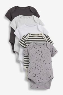 מארז 5 בגדי גוף עם שרוולים קצרים ודוגמה חלקה (0 חודשים עד גיל 3)