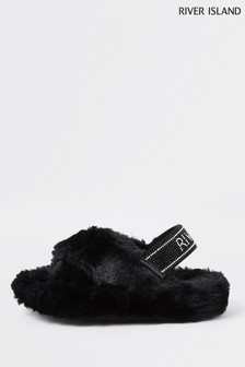 River Island Black Crossover Diamanté Slippers