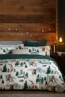 Green 100% Brushed Cotton Forest Bears Duvet Cover and Pillowcase Set