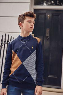 Трикотажная рубашка поло с узором в ромбик (3-16 лет)
