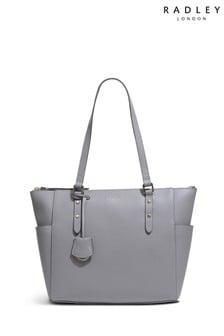 Radley London Grey Silk Street Large Zip Top Shoulder Bag