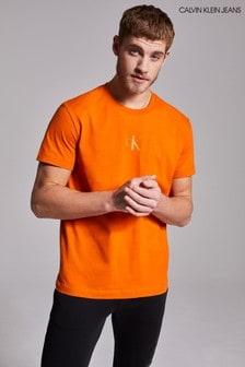 Calvin Klein Jeans Orange CK Sliced Back Graphic T-Shirt
