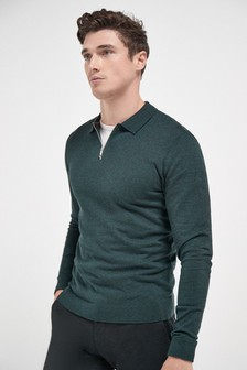 Knitted Zip Neck Polo