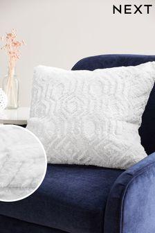White Freya Textured Geo Faux Fur Cushion