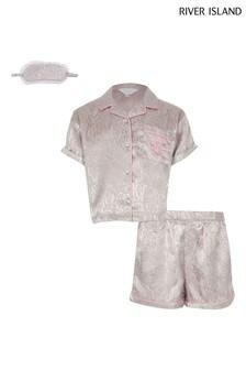 River Island Grey Light Snake Satin Pyjamas