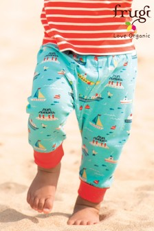 Frugi Blue GOTS Organic Harem Style Trousers In Boat Print