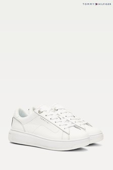 Tommy Hilfiger White Leather Flag Back Trainers