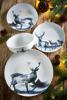 12 Piece Navy Aspen Stag Dinner Set