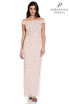 Adrianna Papell Off Shoulder Beaded Gown