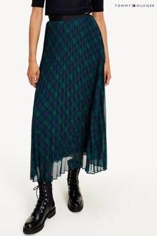 Tommy Hilfiger Green Icon Tartan Pleated Midi Skirt