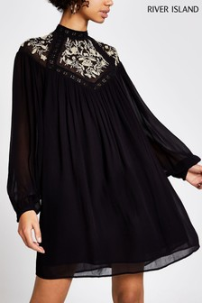 River Island Black Embroidered Smock Dress