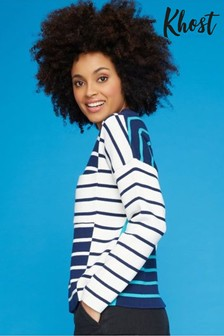 Khost Blue Cut About Stripe Knit Jumper