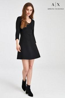 Armani Exchange Black Jersey Dress