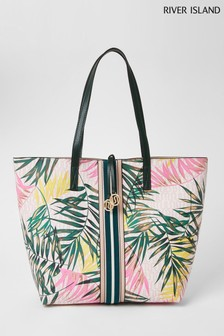 River Island Pink Bright Tropical Web Shopper Bag