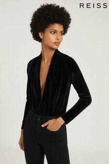 Reiss Black Rosalba Long Sleeved Velvet Bodysuit