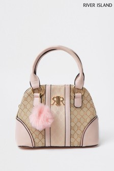 River Island Pink Light Jacquard Mix Kelly Bag