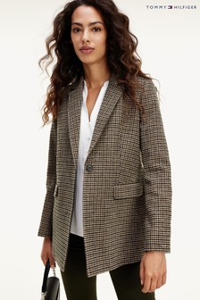 Tommy Hilfiger Camel Wool Blend Pattern Coat