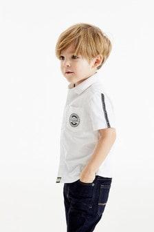 Оксфордская рубашка с короткими рукавами и отделкой лентой (3 мес.-7 лет)
