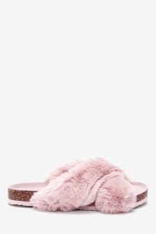 Papuci de casă din blană artificială cu talpă de plută și barete încrucișate