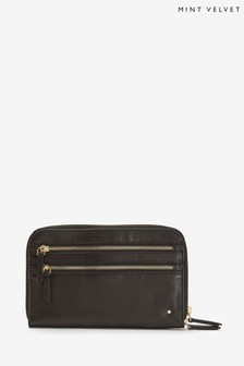 Mint Velvet Black Leather Travel Pouch