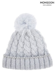 Monsoon Baby Blue Evie Ombre Cable Sparkle Hat