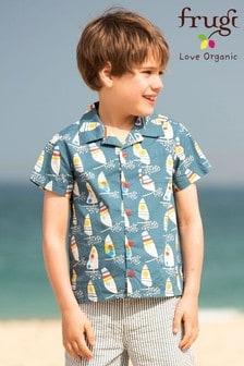 Frugi Blue GOTS Organic Hawaiian Windsurfer Print Shirt