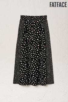 FatFace Black Millie Double Spot Midi Skirt
