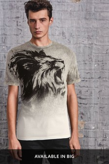 Dip Dye Lion Graphic T-Shirt