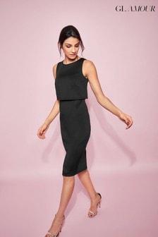 Vestido de tubo de neopreno con detalle de capa superior en negro Glamour de Khost