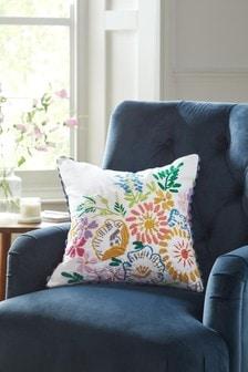 彩色Carefree花朵刺繡靠墊