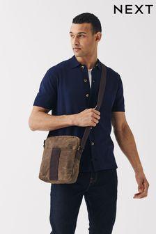 Вощеная сумка-мессенджер с длинным ремешком