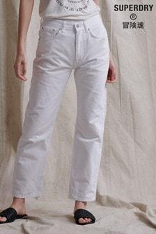 Superdry White High Rise Straight Leg Jeans