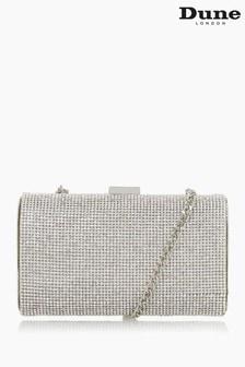 Dune London Silver Bryannie Crystal Embellished Clutch Bag