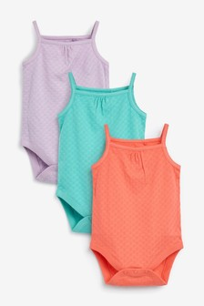 3 Pack Pointelle Vest Bodysuits (0mths-3yrs)