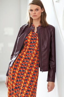 Faux Leather Collarless Jacket