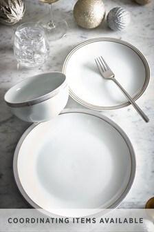 12 Piece Silver Parker Metallic Rim Dinner Set