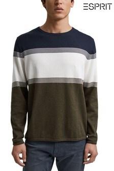 Esprit綠色男裝條紋圓領毛衣